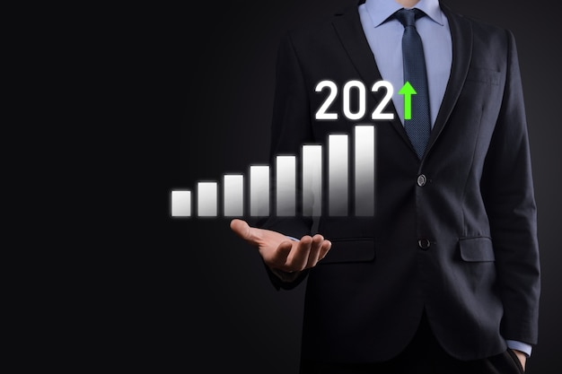 Business development to success and growing growth year 2021 concept