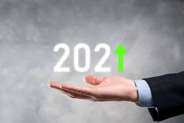 Business development to success and growing growth year 2021 concept.