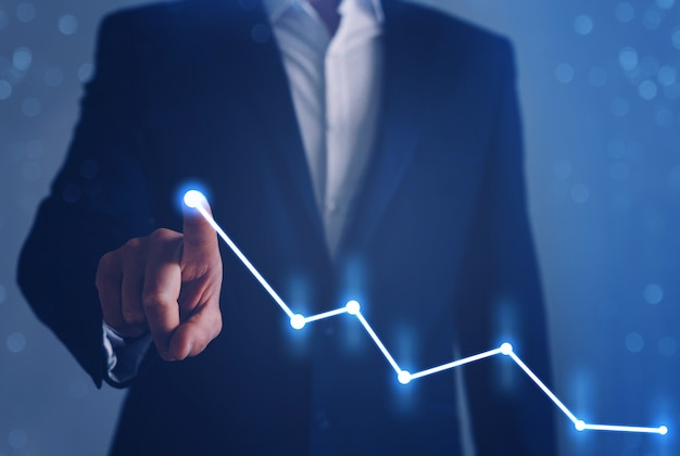 Business development to success, profit and growing growth plan. businessman finger pointing arrow graph.