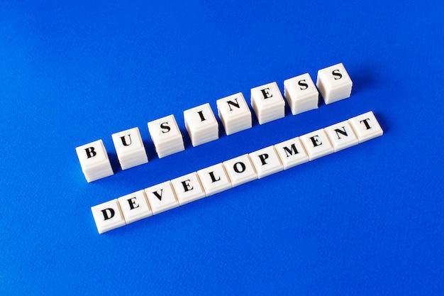 Business development - text on plastic cubes on blue