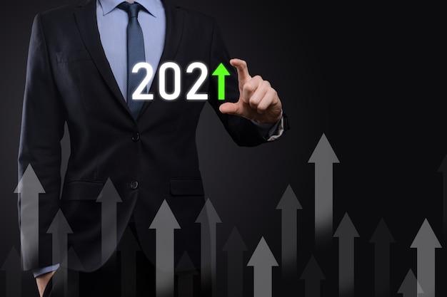 Концепция развития бизнеса к успеху и растущему росту до 2021 года. планирование графика роста бизнеса в концепции 2021 года. бизнес-план и увеличение положительных показателей в своем бизнесе.