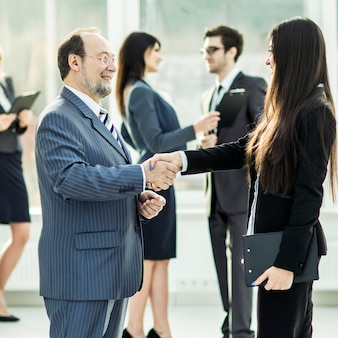 Business discussion, the team discusses sales at the workplace in the office
