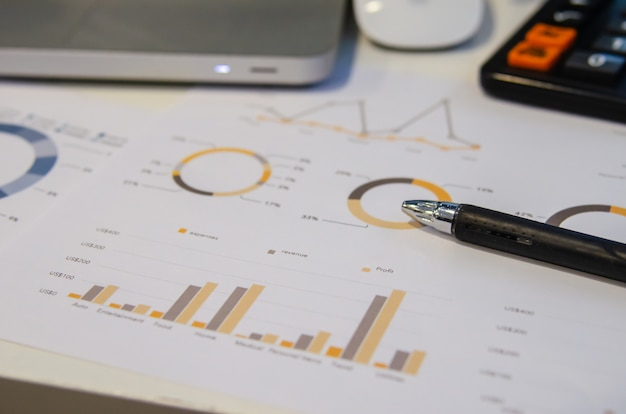 Business documents financial graphs