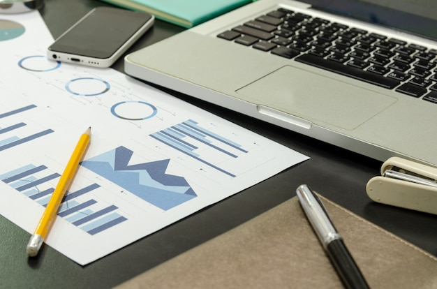 Business documents financial and laptop