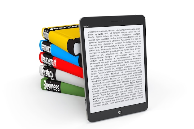 Business e-library concept. tablet pc with books on a white background