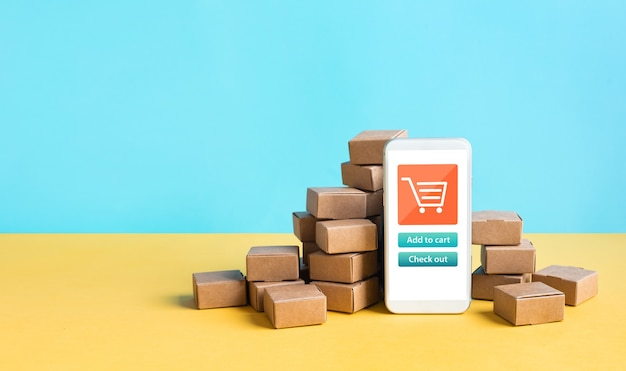 Business ecommerce or online shopping concepts with smartphone