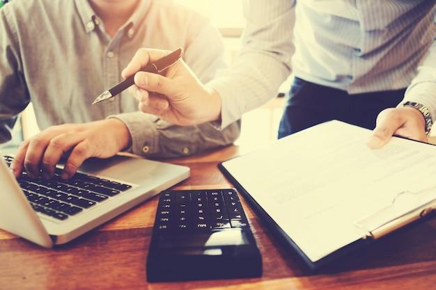 Business executives marketing analyzing sales performance, teamwork meeting concept