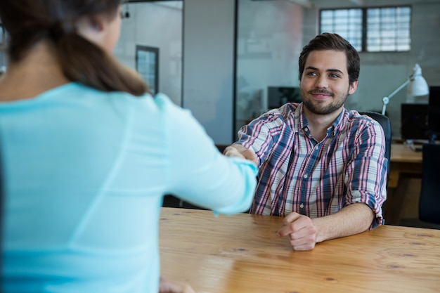 Business executives shaking hands during meeting in office