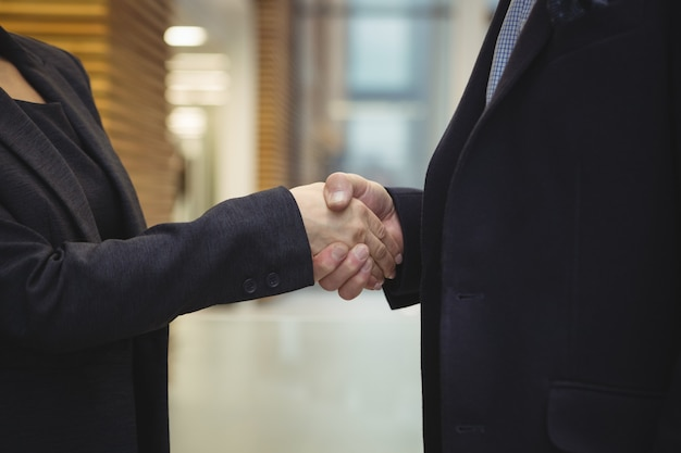 Business executives shaking hands at office