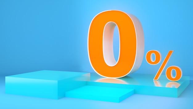 Бизнес финансы 0 процентов на синем фоне оранжевый шрифт 0 макет подиума для презентации продукта