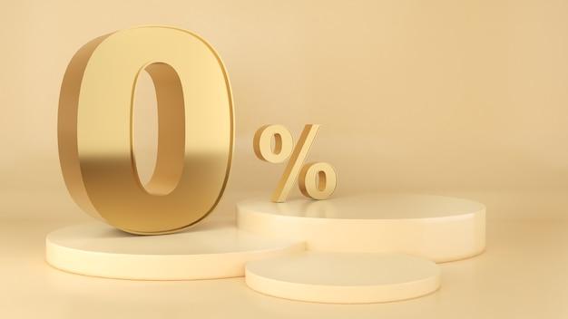 Бизнес финансы 0 процентов на золотом фоне золотой шрифт 0 макет подиума для презентации продукта