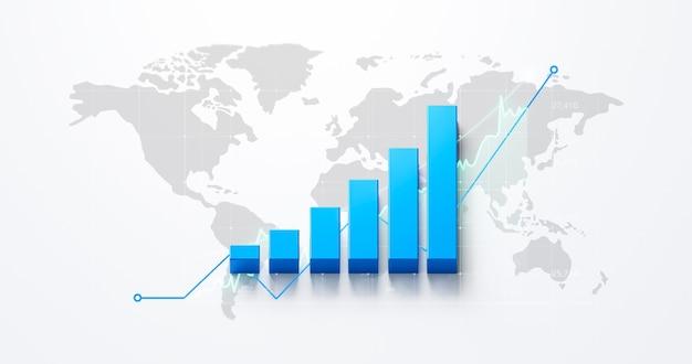Бизнес-финансы диаграмма рыночный обмен инвестиционных финансовых денег графа запаса на фоне роста мировой экономики с диаграммой прибыли мировой экономической торговли. 3d-рендеринг.