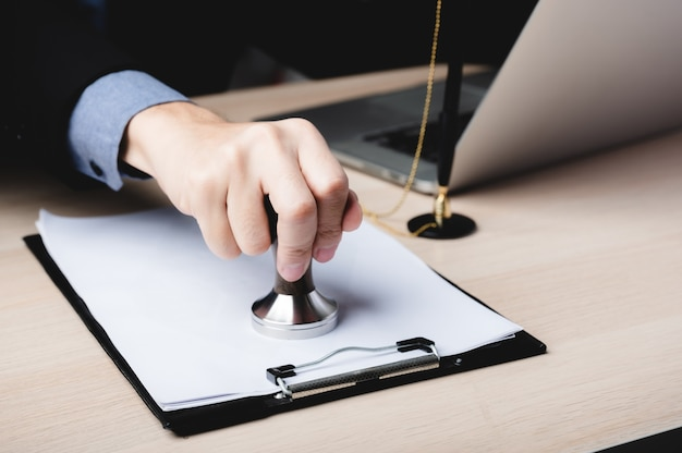 Business finance document approve, businessman signing contract paperwork in office, people meeting for success signature investment paper, mortgage and loan, notary working with law for debt banking