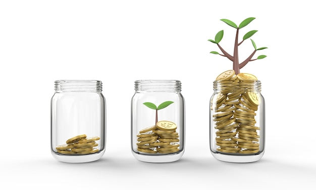 Business finance investment growth and saving money