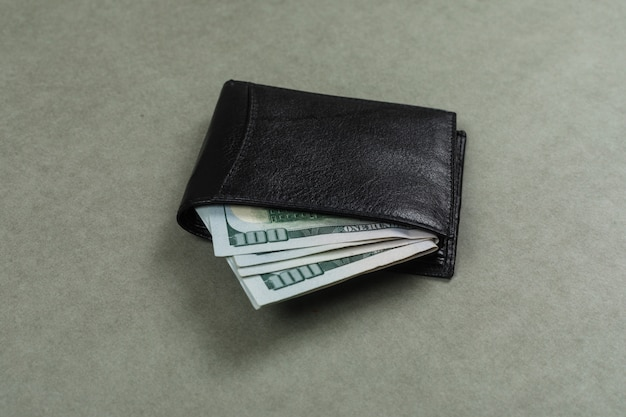 Business and financial concept with dollars in wallet on grey surface flat lay.