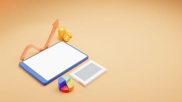 Финансовая концепция бизнеса с видом сверху на 3d-смартфон, круговую диаграмму, стек монет и растущую стрелку на желтом фоне.