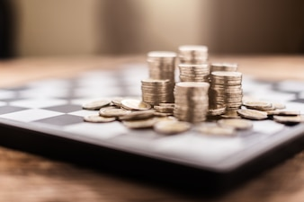 Business financial ideas concept with money coin stack