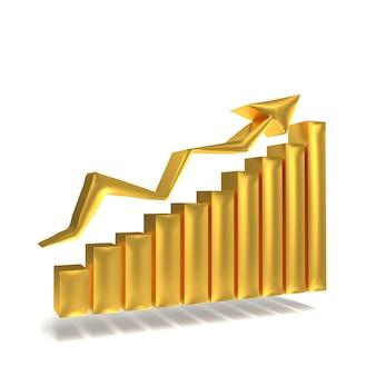 成功を示す矢印の付いたビジネスゴールドグラフ。金市場オンライン金コンセプト。上昇の矢印でバーグラフグラフビジネス成長。 3dレンダリング。