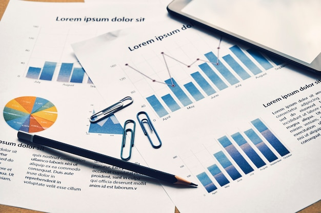Business graph analysis report. financial statistics dummy report. accounting desk, business concept