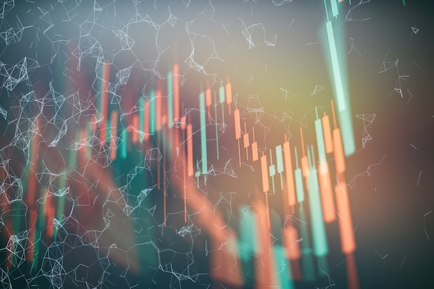 시장 분석을 포함하는 모니터의 비즈니스 그래프 배경. 막대 그래프, 다이어그램, 재무 수치. 외환 차트.