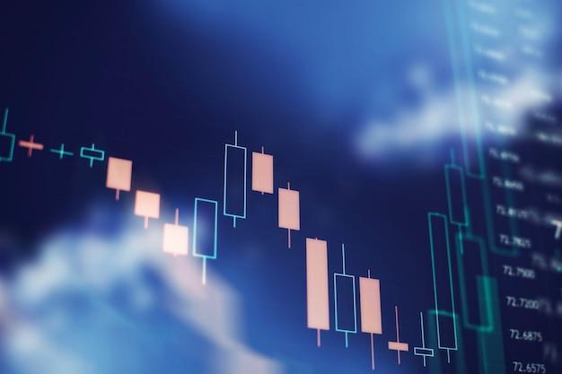 Фон бизнес-графика на мониторе, который включает анализ рынка. гистограммы, диаграммы, финансовые показатели. график форекс.