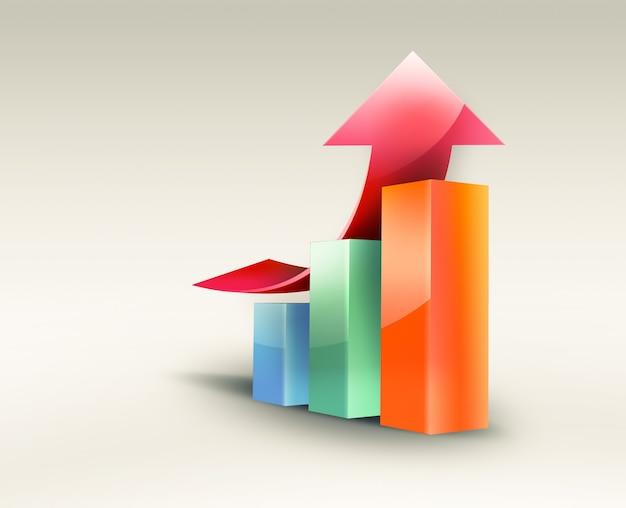 성장 진행 빨간색 화살표, 개념적 비즈니스 이미지와 비즈니스 그래프