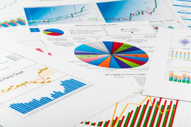 Business graphs and charts, business background on table