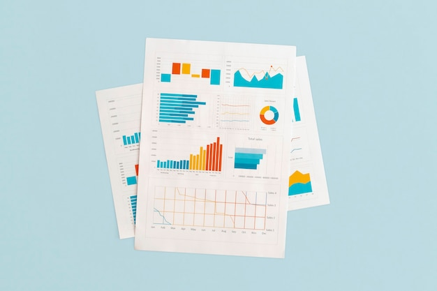 Business graphs and charts on table. financial development, banking account, statistics