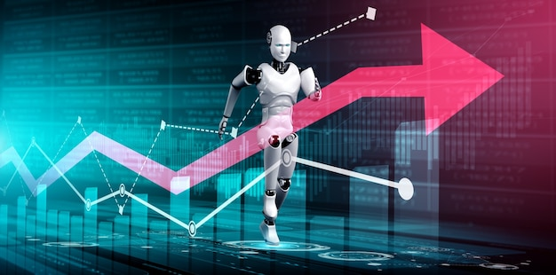 Business growth concept by using ai robot and machine learning technology
