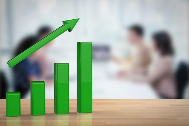 Концепция роста бизнеса с 3d-рендерингом зеленого графика