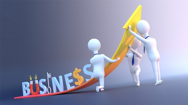 Business growth concept with creative business text and business people.