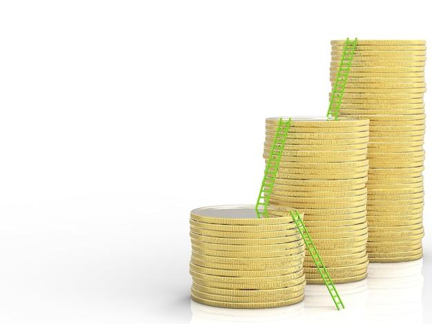 Концепция роста бизнеса со стопкой монет и лестниц