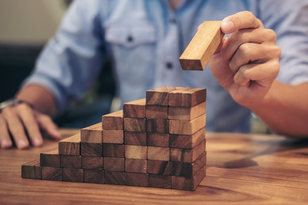 Business growth concept with wooden blocks