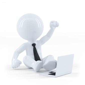 Ragazzo di affari seduto e utilizzando un computer portatile