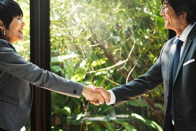 Business handshake in asia