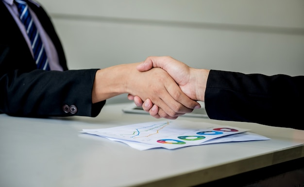Business handshake and teamwork for success and goal