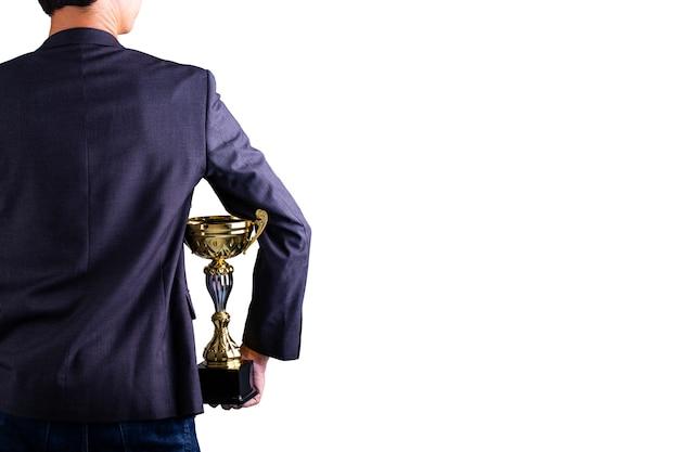Трофей награды холдинга дела с белой предпосылкой.