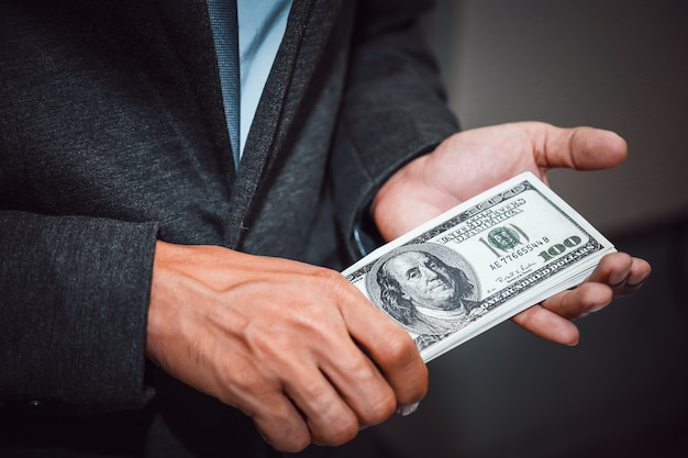 Business holding money .