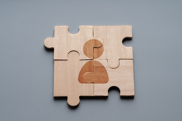 Business and hr icon on jigsaw puzzle