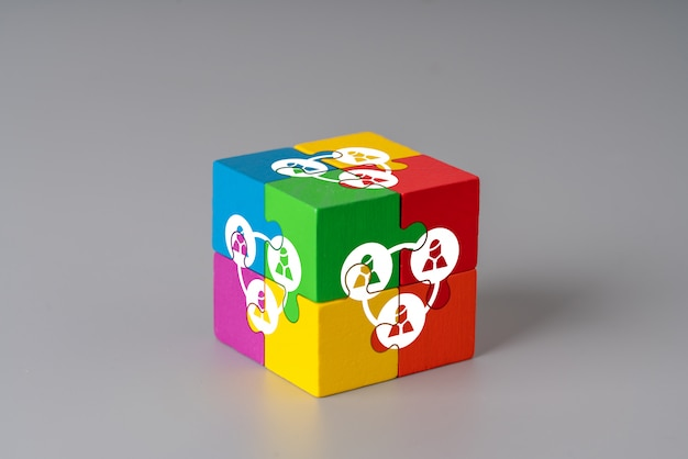 Business & hr puzzle cube with hand