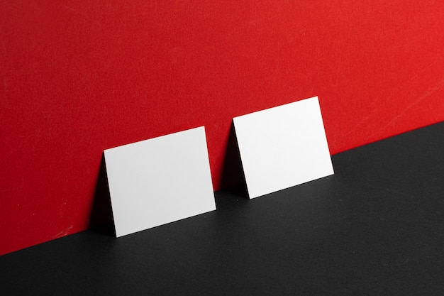 Business id cards mock up on paper background, copy space