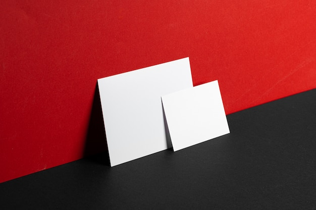 Business id cards mock up on paper background