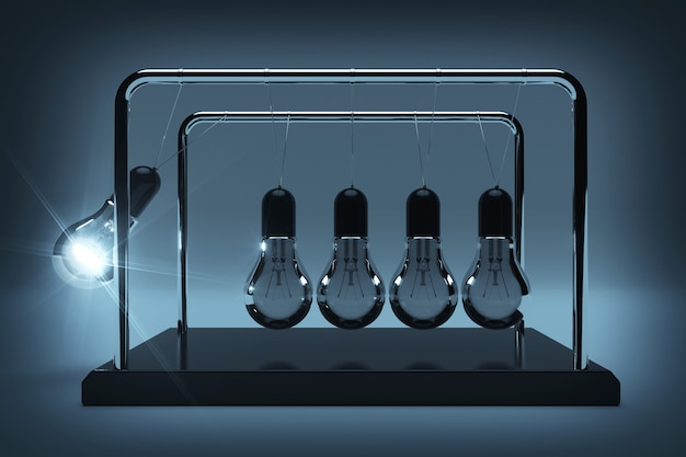 Business idea concept. perpetual motion light bulbs with one glowing as newtons spheres cradle on a gray background. 3d rendering