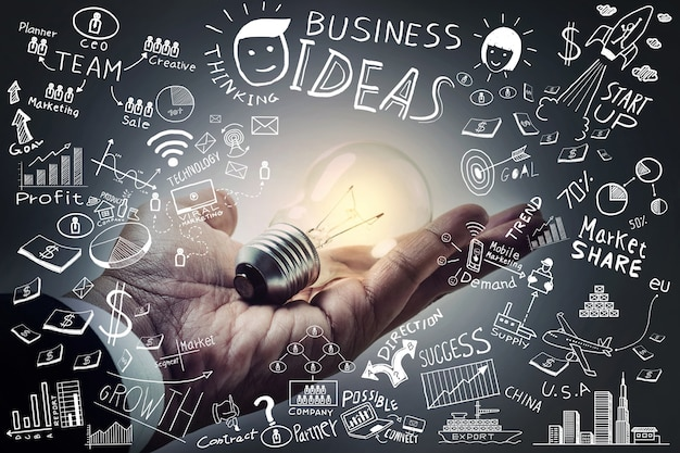 Business ideaslight bulb on hand with freehand drawing business doodles