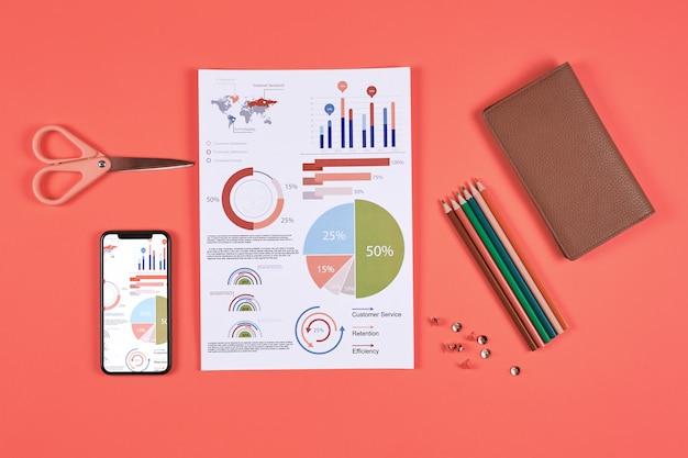 赤の背景にビジネスインフォグラフィック
