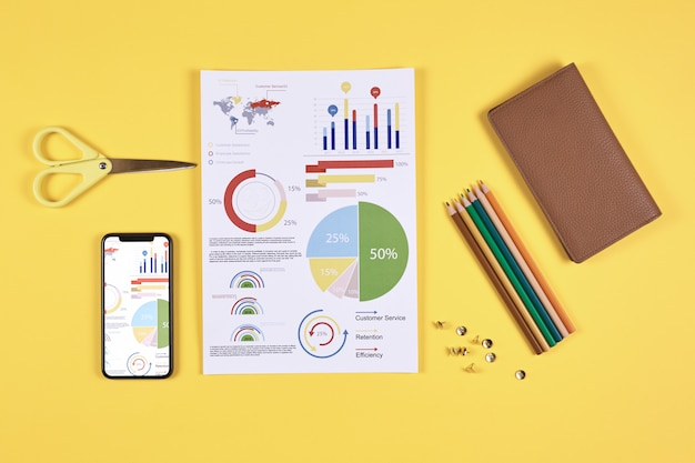 Business infographics on pop yellow background
