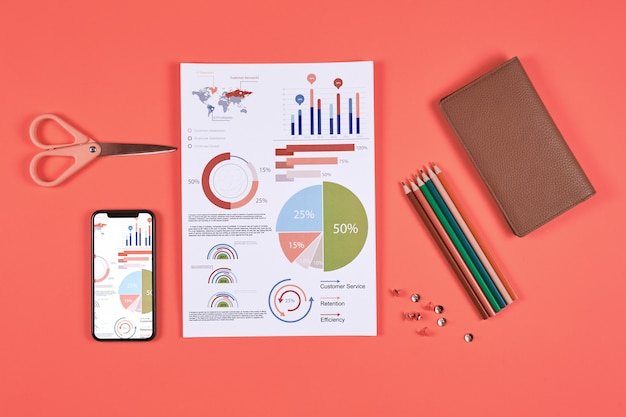 Business infographics on red background