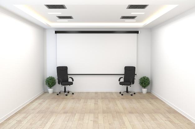 椅子と植物と白い壁に木の床が空のビジネスインテリア。 3dレンダリング