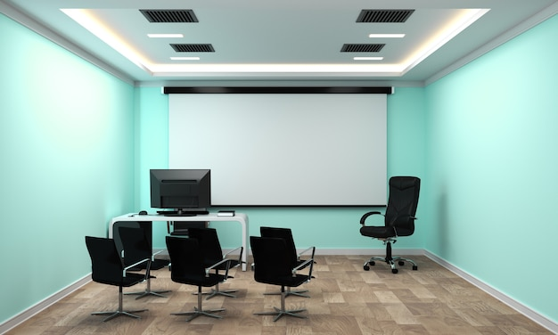 Business interior with chairs and plants and wooden floor on mint wall empty. 3d rendering