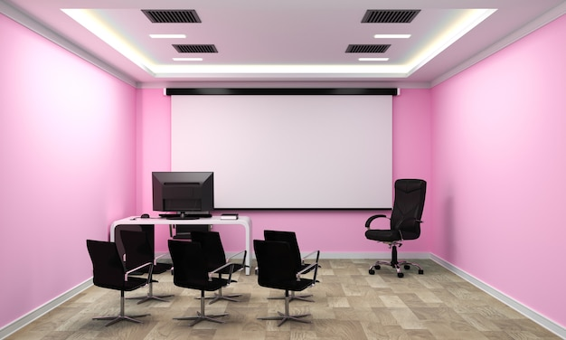 Business interior with chairs and plants and wooden floor on pink wall empty. 3d rendering
